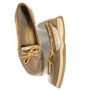 Sperry Top-Siders leather plaid boat shoes (GC)